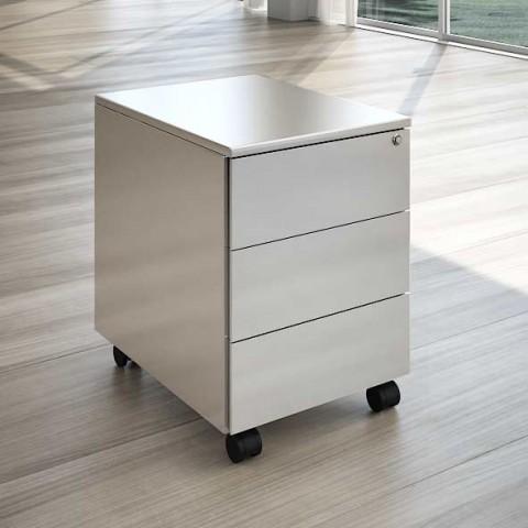 scrivania in cristallo con cassettiera linekit