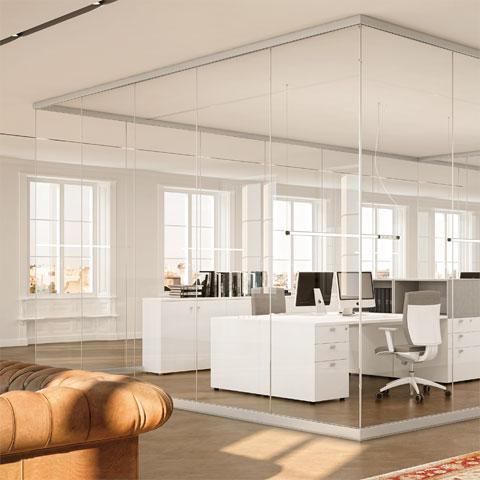 Pareti divisorie per ufficio le partizioni interne linekit - Parete divisoria in vetro ...