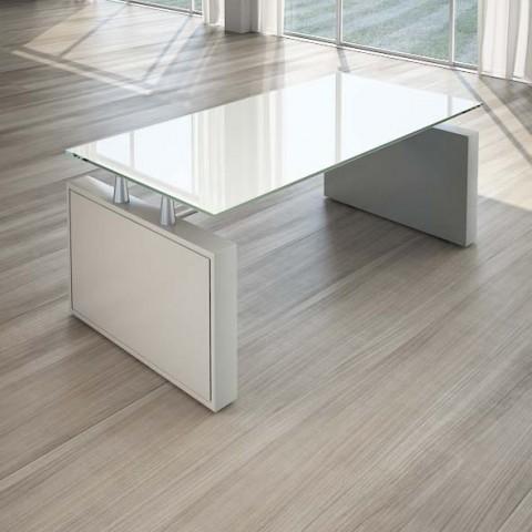 Scrivania per ufficio 180 cm top cristallo linekit for Scrivania arredo