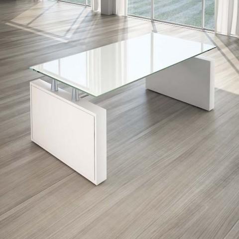 Scrivania per ufficio 180 cm top cristallo linekit - Scrivania cristallo ufficio ...