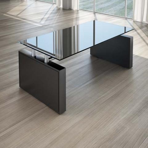 Scrivania per ufficio 180 cm top cristallo nero linekit - Scrivania cristallo ufficio ...