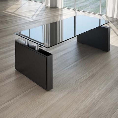 Scrivania per ufficio 200 cm top cristallo nero linekit for Scrivania direzionale
