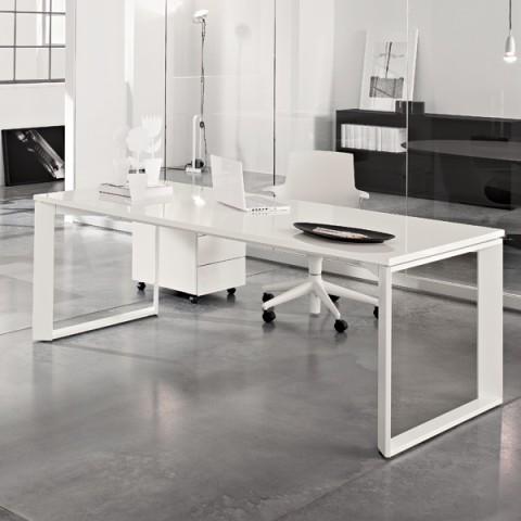 Scrivania bianco lucido con cassettiera linekit for Design ufficio scrivania