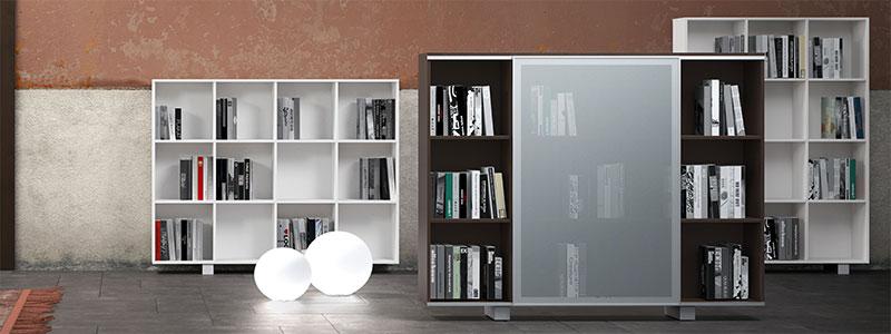 Libreria da ufficio con ante in vetro linekit for Libreria da ufficio