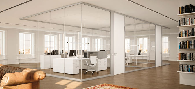 Pareti in vetro per ufficio linekit for Elementi divisori per interni