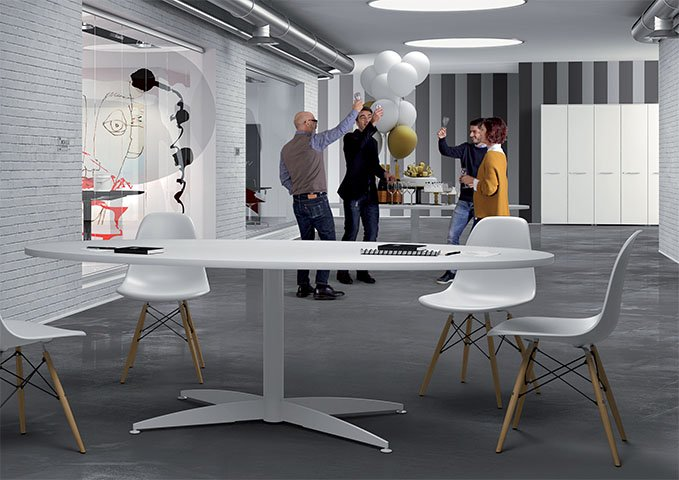 Tavolo Ovale Bianco : Tavolo riunione ovale bianco linekit
